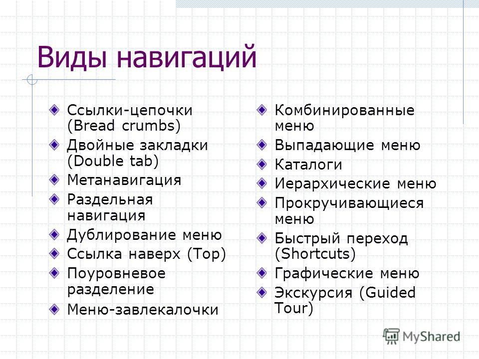 Виды навигаций Ссылки-цепочки (Bread crumbs) Двойные закладки (Double tab) Метанавигация Раздельная навигация Дублирование меню Ссылка наверх (Top) Поуровневое разделение Меню-завлекалочки Комбинированные меню Выпадающие меню Каталоги Иерархические м