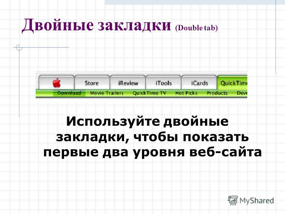 Двойные закладки (Double tab) Используйте двойные закладки, чтобы показать первые два уровня веб-сайта