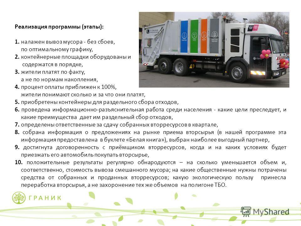 Реализация программы (этапы): 1. налажен вывоз мусора - без сбоев, по оптимальному графику, 2. контейнерные площадки оборудованы и содержатся в порядке, 3. жители платят по факту, а не по нормам накопления, 4. процент оплаты приближен к 100%, жители