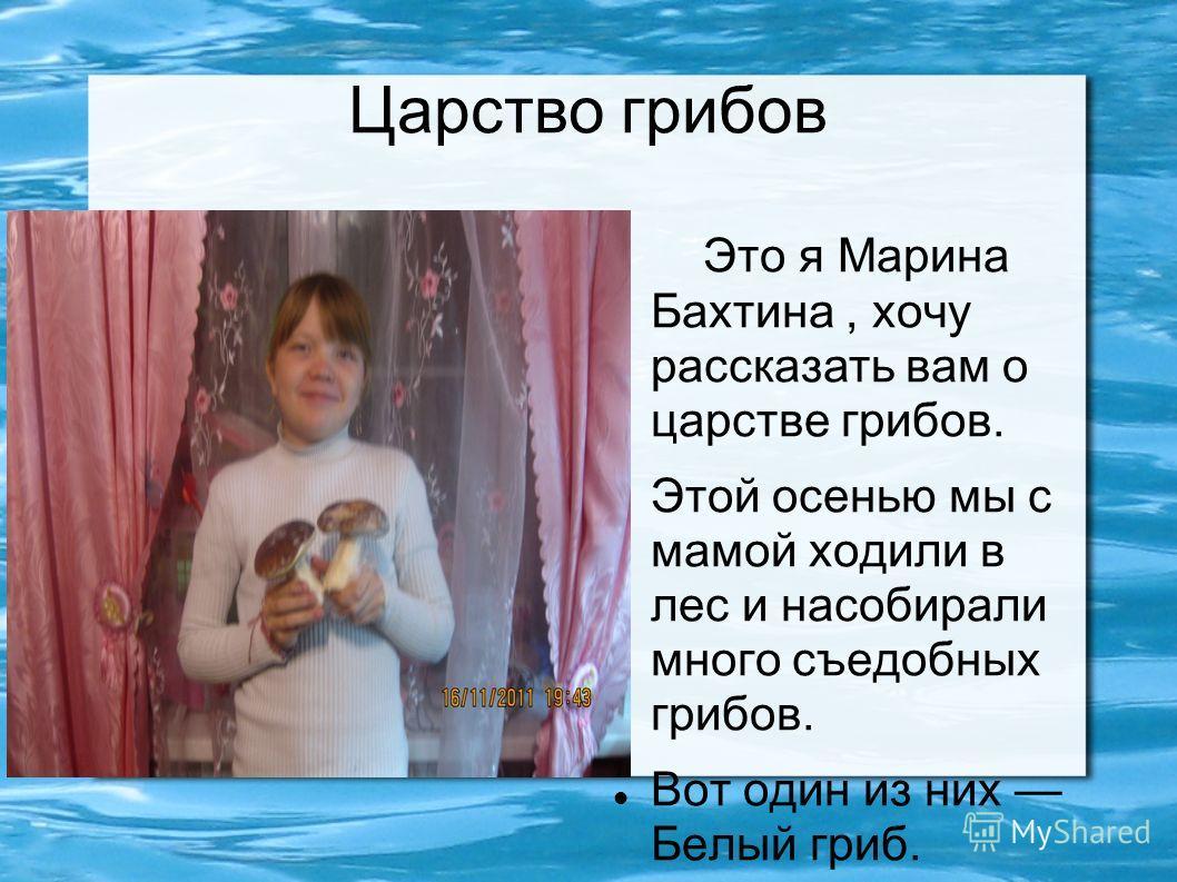 Царство грибов Это я Марина Бахтина, хочу рассказать вам о царстве грибов. Этой осенью мы с мамой ходили в лес и насобирали много съедобных грибов. Вот один из них Белый гриб.
