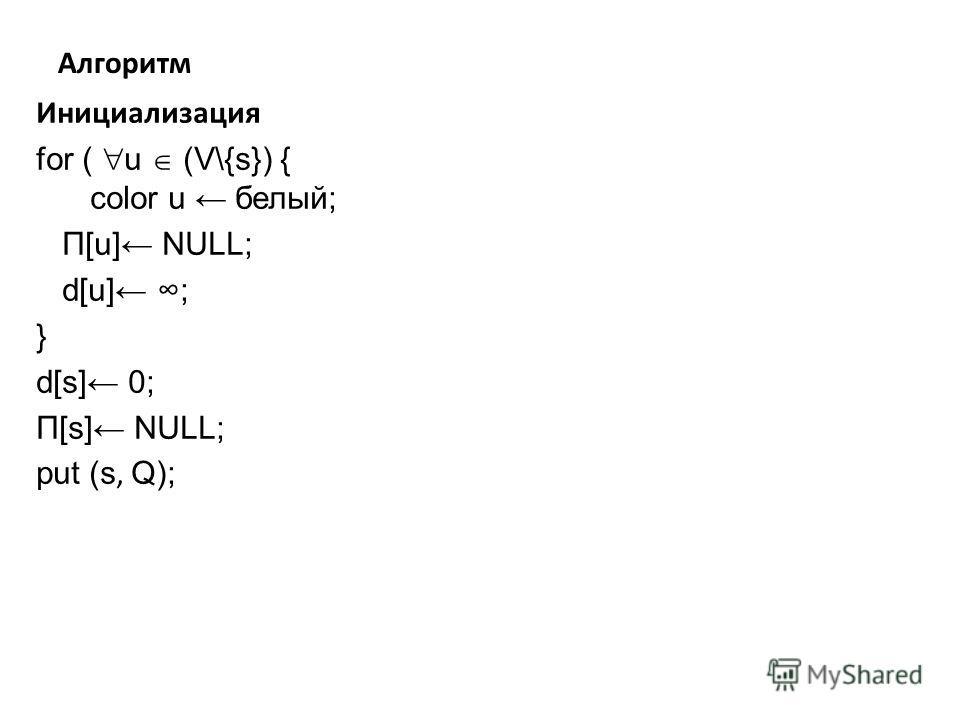 Алгоритм Инициализация for ( u (V\{s}) { color u белый; Π[u] NULL; d[u] ; } d[s] 0; Π[s] NULL; put (s, Q);