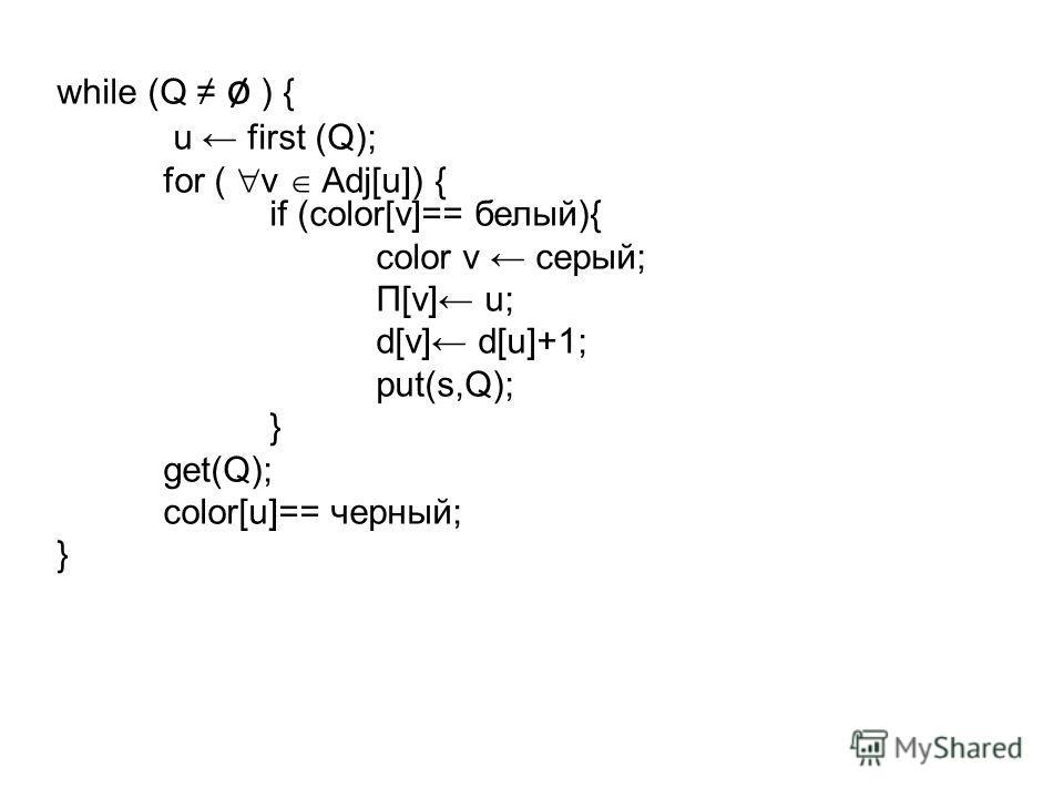 while (Q ø ) { u first (Q); for ( v Adj[u]) { if (color[v]== белый){ color v серый; Π[v] u; d[v] d[u]+1; put(s,Q); } get(Q); color[u]== черный; }