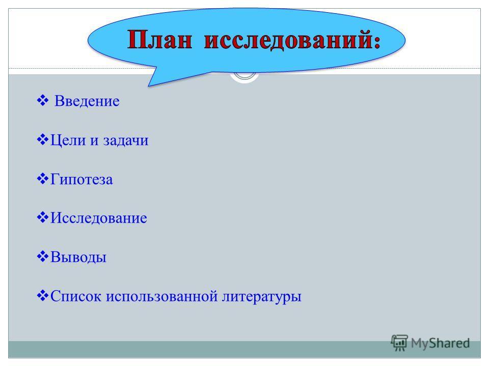 Введение Цели и задачи Гипотеза Исследование Выводы Список использованной литературы