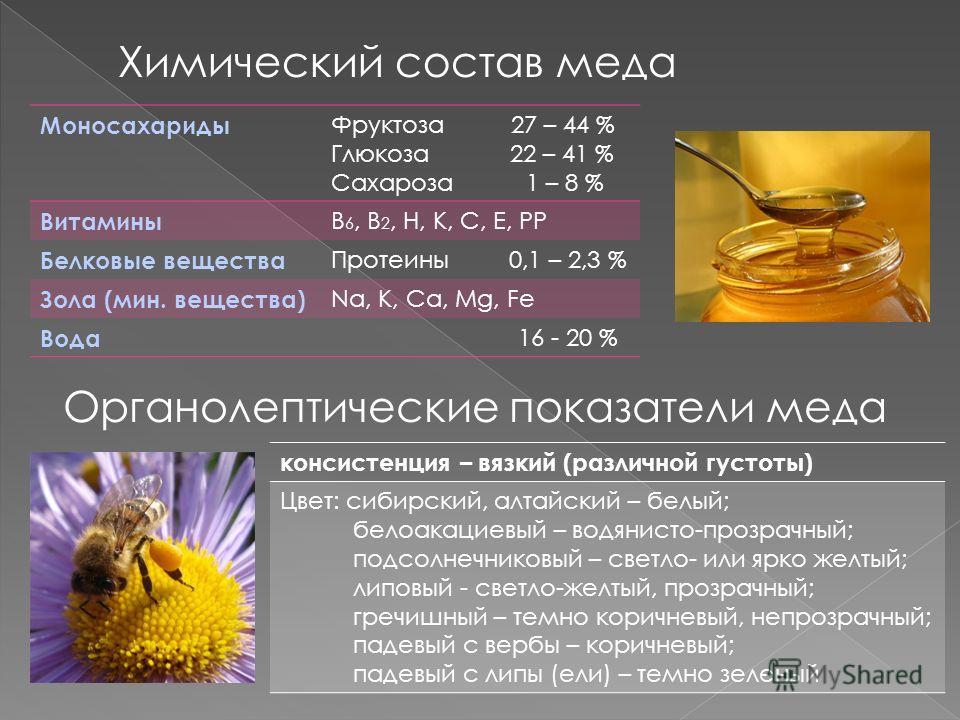 Химический состав меда Моносахариды Фруктоза 27 – 44 % Глюкоза 22 – 41 % Сахароза 1 – 8 % Витамины B 6, B 2, Н, К, С, Е, РР Белковые вещества Протеины 0,1 – 2,3 % Зола (мин. вещества) Na, K, Ca, Mg, Fe Вода 16 - 20 % Органолептические показатели меда