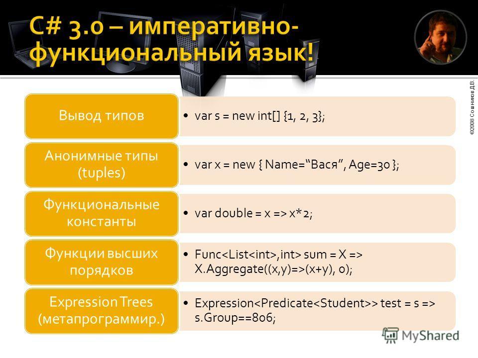 ©2008 Сошников Д.В. var s = new int[] {1, 2, 3}; Вывод типов var x = new { Name=Вася, Age=30 }; Анонимные типы (tuples) var double = x => x*2; Функциональные константы Func,int> sum = X => X.Aggregate((x,y)=>(x+y), 0); Функции высших порядков Express