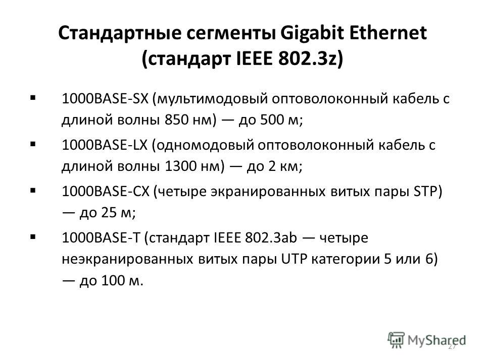 27 Стандартные сегменты Gigabit Ethernet (стандарт IEEE 802.3z) 1000BASE-SX (мультимодовый оптоволоконный кабель с длиной волны 850 нм) до 500 м; 1000BASE-LX (одномодовый оптоволоконный кабель с длиной волны 1300 нм) до 2 км; 1000BASE-CX (четыре экра