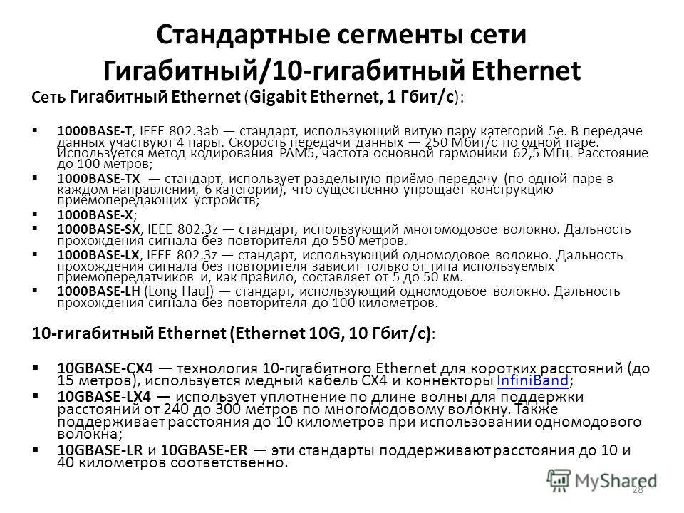 28 Стандартные сегменты сети Гигабитный/10-гигабитный Ethernet Сеть Гигабитный Ethernet ( Gigabit Ethernet, 1 Гбит/с ): 1000BASE-T, IEEE 802.3ab стандарт, использующий витую пару категорий 5e. В передаче данных участвуют 4 пары. Скорость передачи дан