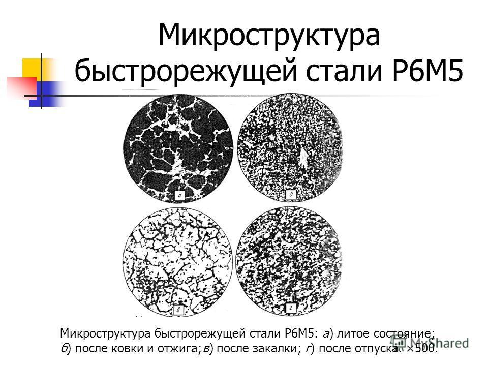 Микроструктура быстрорежущей стали Р6М5 Микроструктура быстрорежущей стали Р6М5: а) литое состояние; б) после ковки и отжига;в) после закалки; г) после отпуска. ×500.