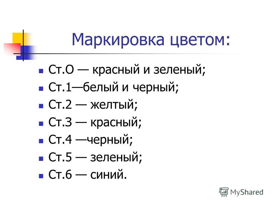 Маркировка цветом: Ст.О красный и зеленый; Ст.1белый и черный; Ст.2 желтый; Ст.З красный; Ст.4 черный; Ст.5 зеленый; Ст.6 синий.