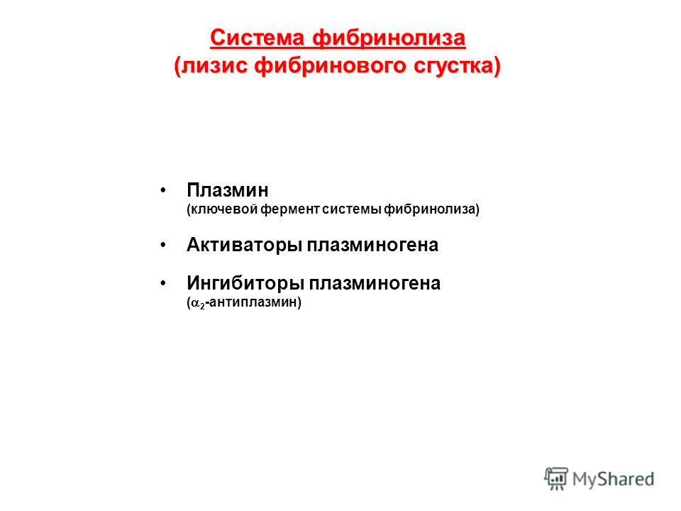 Система фибринолиза (лизис фибринового сгустка) Плазмин (ключевой фермент системы фибринолиза) Активаторы плазминогена Ингибиторы плазминогена ( 2 -антиплазмин)