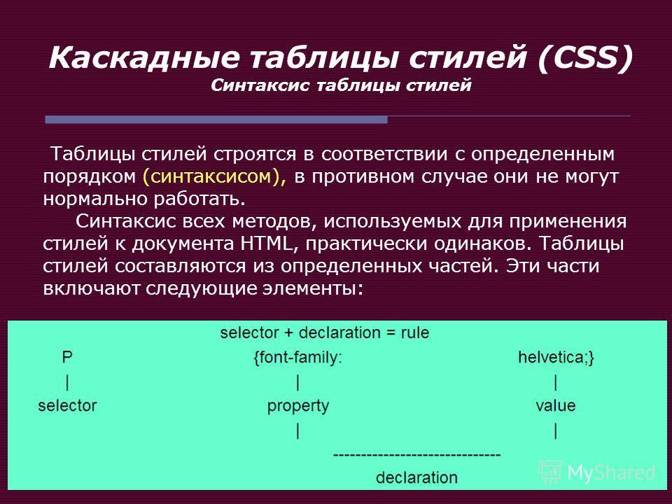 Каскадные таблицы стилей (CSS) Синтаксис таблицы стилей Таблицы стилей строятся в соответствии с определенным порядком (синтаксисом), в противном случае они не могут нормально работать. Синтаксис всех методов, используемых для применения стилей к док