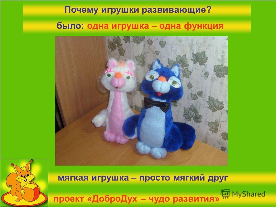 проект «ДоброДух – чудо развития» Почему игрушки развивающие? было: одна игрушка – одна функция мягкая игрушка – просто мягкий друг