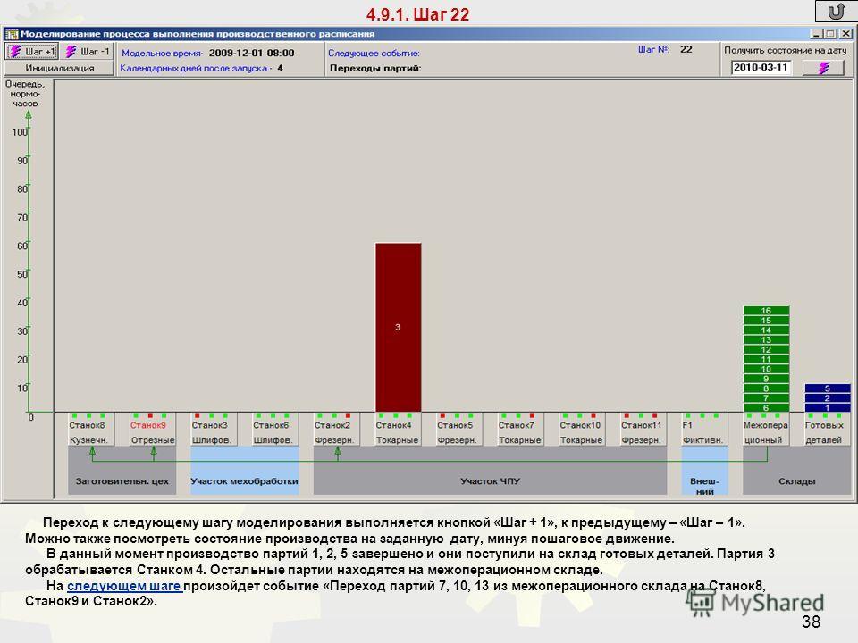 38 4.9.1. Шаг 22 Переход к следующему шагу моделирования выполняется кнопкой «Шаг + 1», к предыдущему – «Шаг – 1». Можно также посмотреть состояние производства на заданную дату, минуя пошаговое движение. В данный момент производство партий 1, 2, 5 з