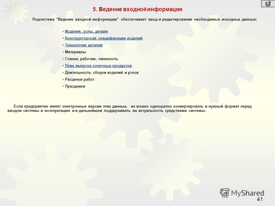 41 5. Ведение входной информации Подсистема