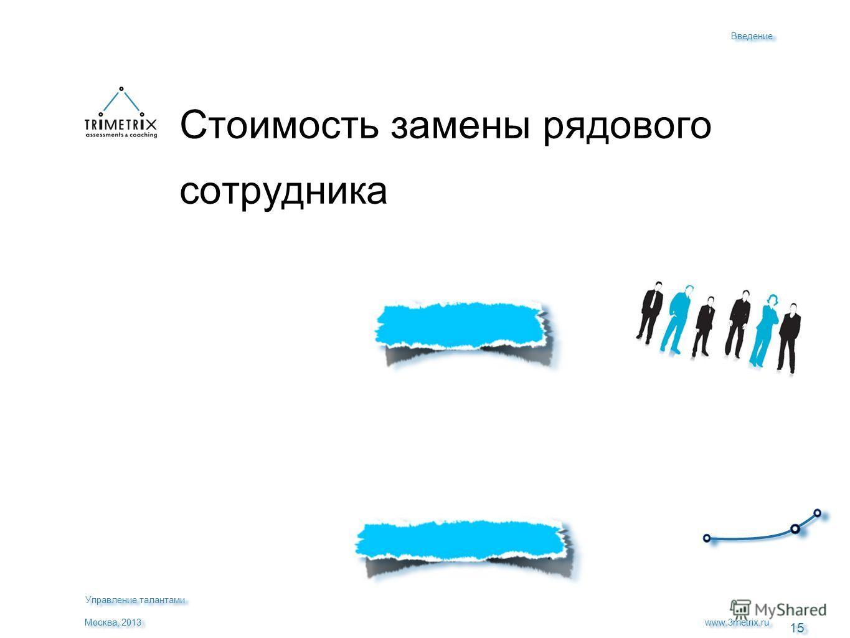 15 $51.000 за ТРИ года www.3metrix.ru Москва, 2013 Стоимость замены рядового сотрудника Введение Управление талантами