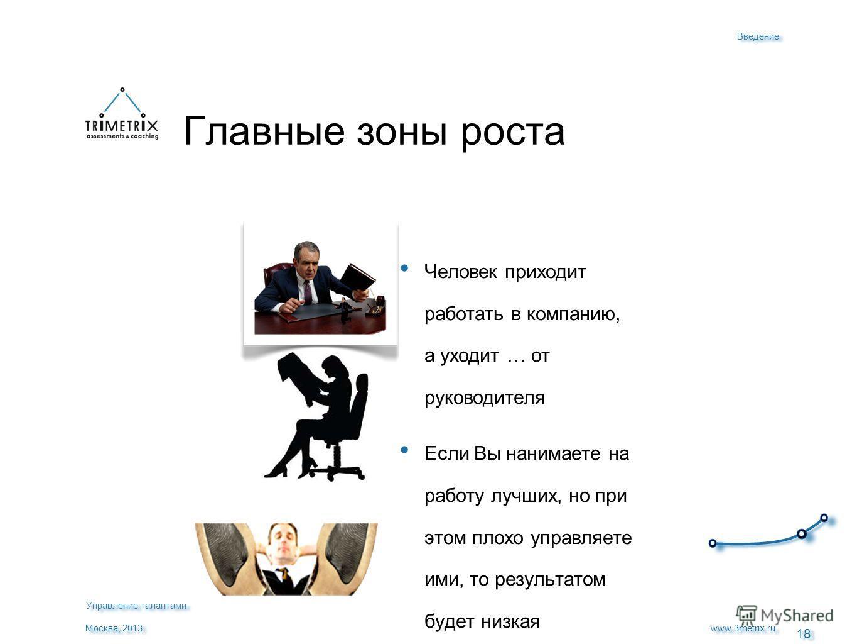 18 www.3metrix.ru Москва, 2013 Главные зоны роста Человек приходит работать в компанию, а уходит … от руководителя Если Вы нанимаете на работу лучших, но при этом плохо управляете ими, то результатом будет низкая производительность и высокая текучест