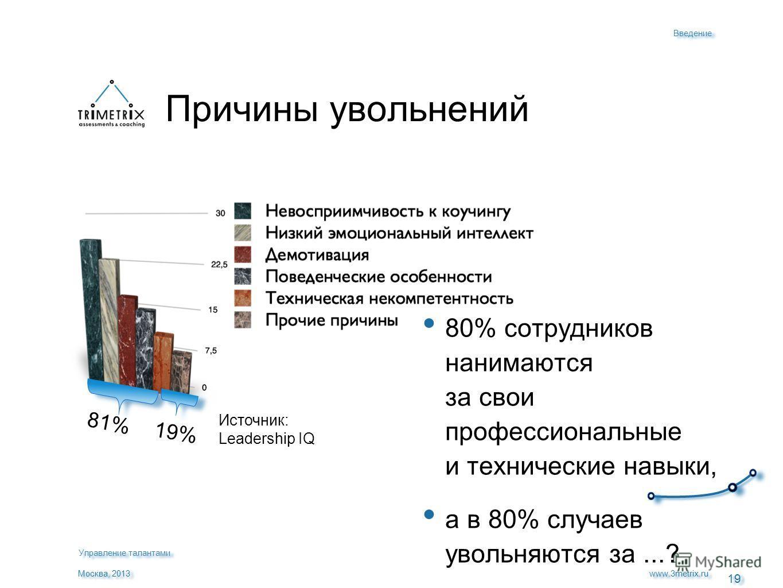 19 www.3metrix.ru Москва, 2013 Причины увольнений 80% сотрудников нанимаются за свои профессиональные и технические навыки, а в 80% случаев увольняются за...? Источник: Leadership IQ 81% 19% Введение Управление талантами