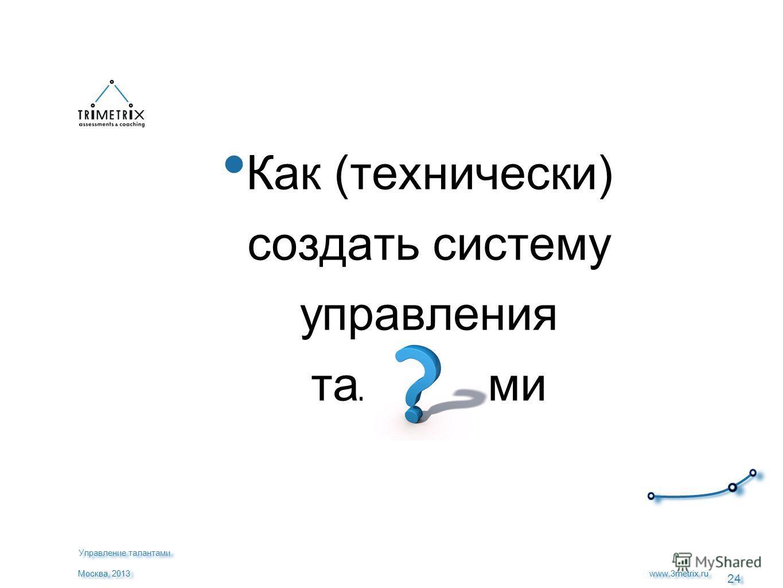 24 www.3metrix.ru Москва, 2013 Как (технически) создать систему управления талантами Управление талантами