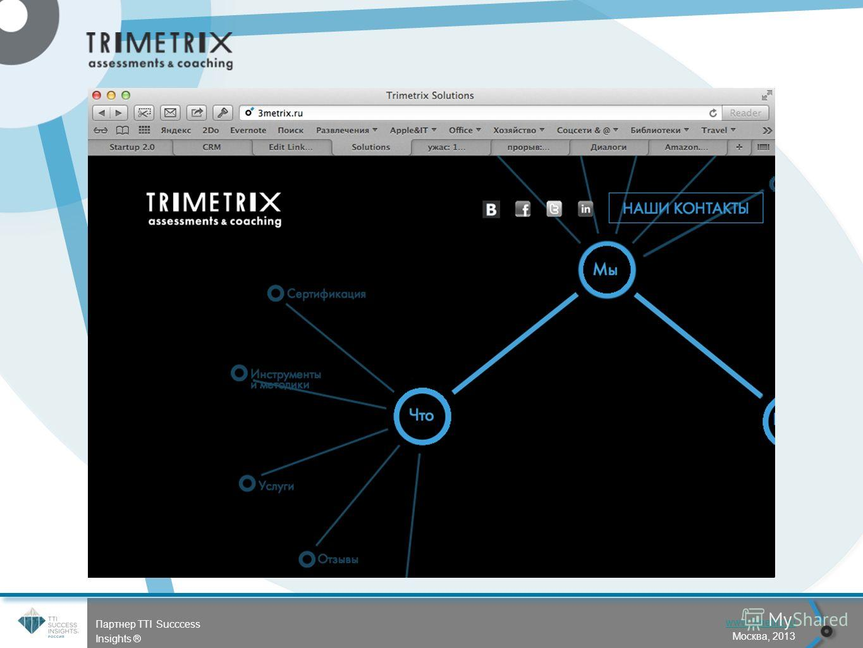 56 www.3metrix.ru Москва, 2013 Партнер TTI Succcess Insights ® Следующий Предыдущий Начало презент. Конец презент. Посл.просм.
