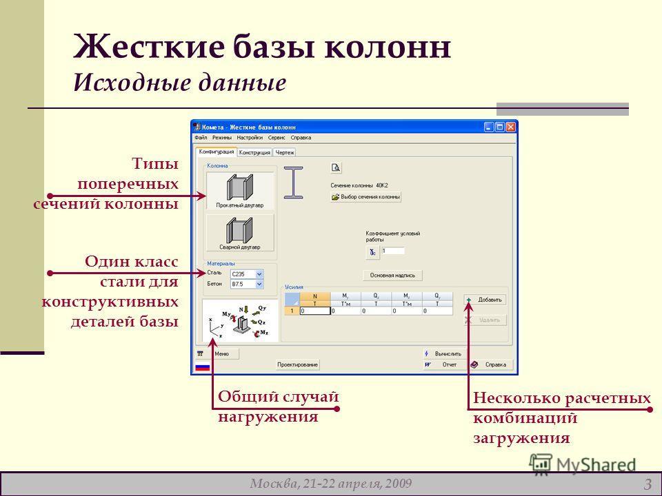 Жесткие базы колонн Исходные данные Общий случай нагружения Несколько расчетных комбинаций загружения Один класс стали для конструктивных деталей базы Типы поперечных сечений колонны Москва, 21-22 апреля, 2009 3