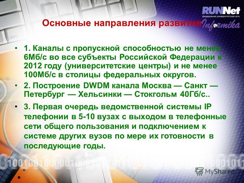 Основные направления развития 1. Каналы с пропускной способностью не менее 6Мб/с во все субъекты Российской Федерации к 2012 году (университетские центры) и не менее 100Мб/c в столицы федеральных округов. 2. Построение DWDM канала Москва Санкт Петерб