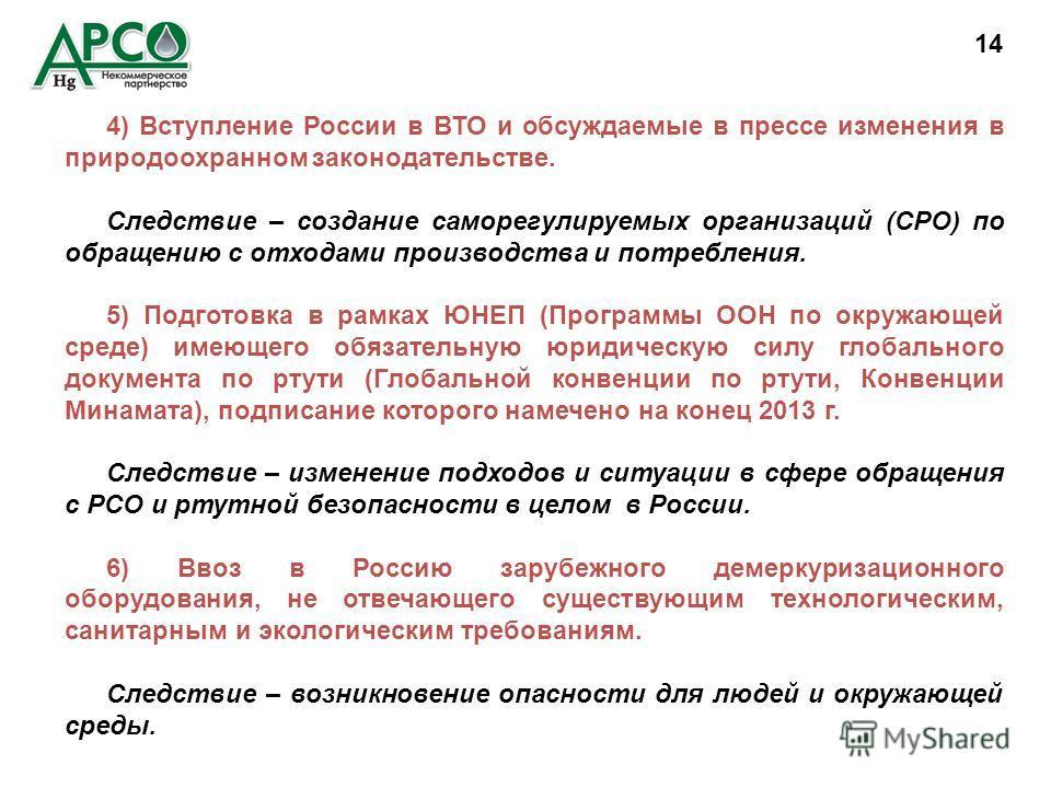 4) Вступление России в ВТО и обсуждаемые в прессе изменения в природоохранном законодательстве. Следствие – создание саморегулируемых организаций (СРО) по обращению с отходами производства и потребления. 5) Подготовка в рамках ЮНЕП (Программы ООН по