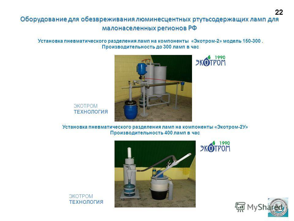 Установка пневматического разделения ламп на компоненты «Экотром-2» модель 150-300. Производительность до 300 ламп в час Установка пневматического разделения ламп на компоненты «Экотром-2У» Производительность 400 ламп в час Оборудование для обезврежи