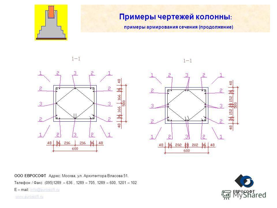 Примеры чертежей колонны : примеры армирования сечения (продолжение) ООО ЕВРОСОФТ Адрес: Москва, ул. Архитектора Власова 51. Телефон / Факс (095)1289 – 636, 1289 – 705, 1289 – 600, 1201 – 102 E – mail: info@eurosoft.ruinfo@eurosoft.ru www.eurosoft.ru