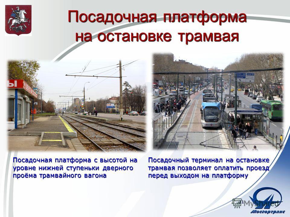 Посадочная платформа на остановке трамвая Посадочная платформа с высотой на уровне нижней ступеньки дверного проёма трамвайного вагона 11 Посадочный терминал на остановке трамвая позволяет оплатить проезд перед выходом на платформу
