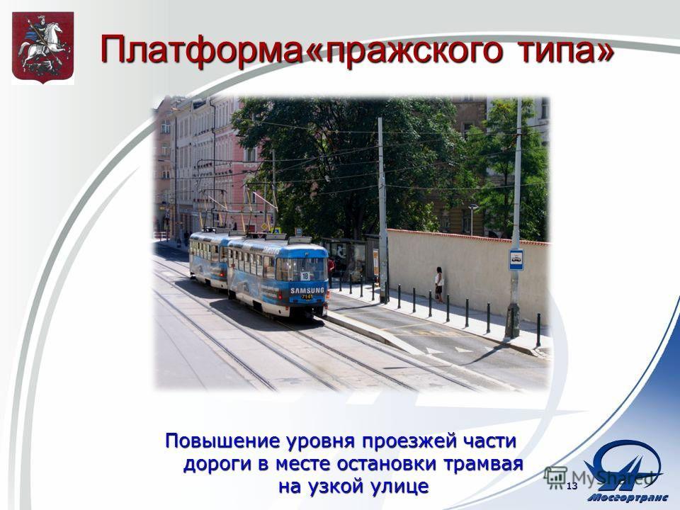 Платформа«пражского типа» Повышение уровня проезжей части дороги в месте остановки трамвая на узкой улице 13