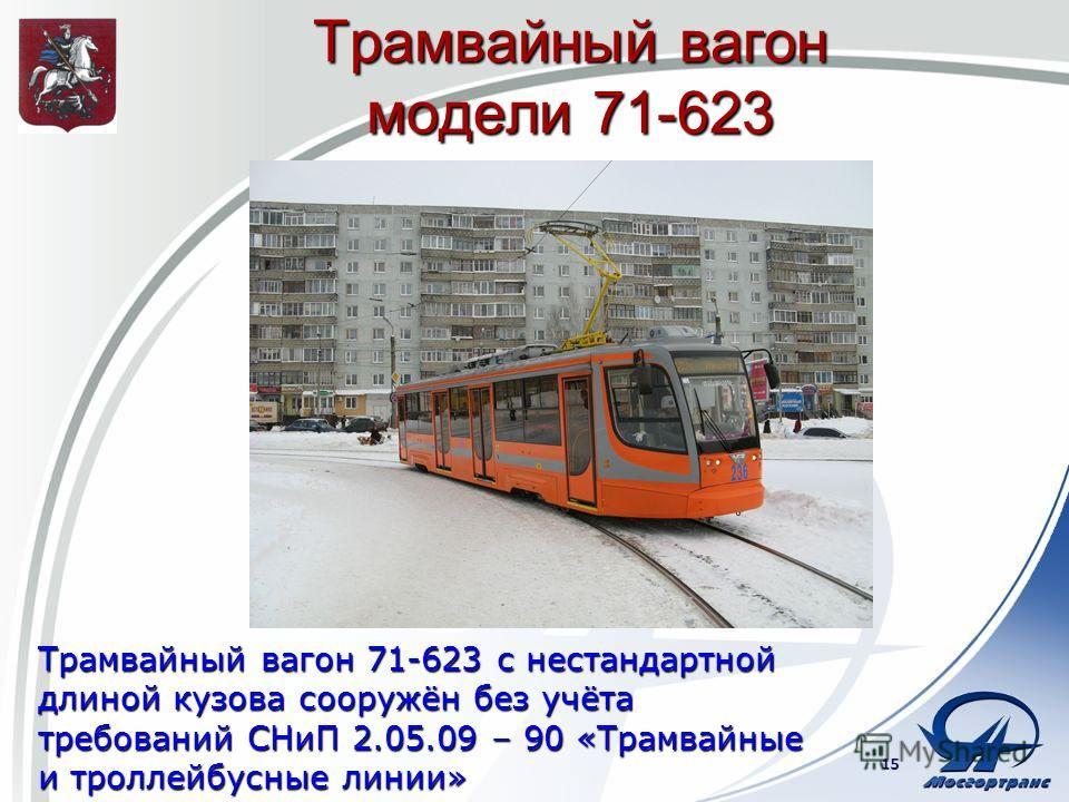 Трамвайный вагон модели 71-623 Трамвайный вагон 71-623 с нестандартной длиной кузова сооружён без учёта требований СНиП 2.05.09 – 90 «Трамвайные и троллейбусные линии» 15