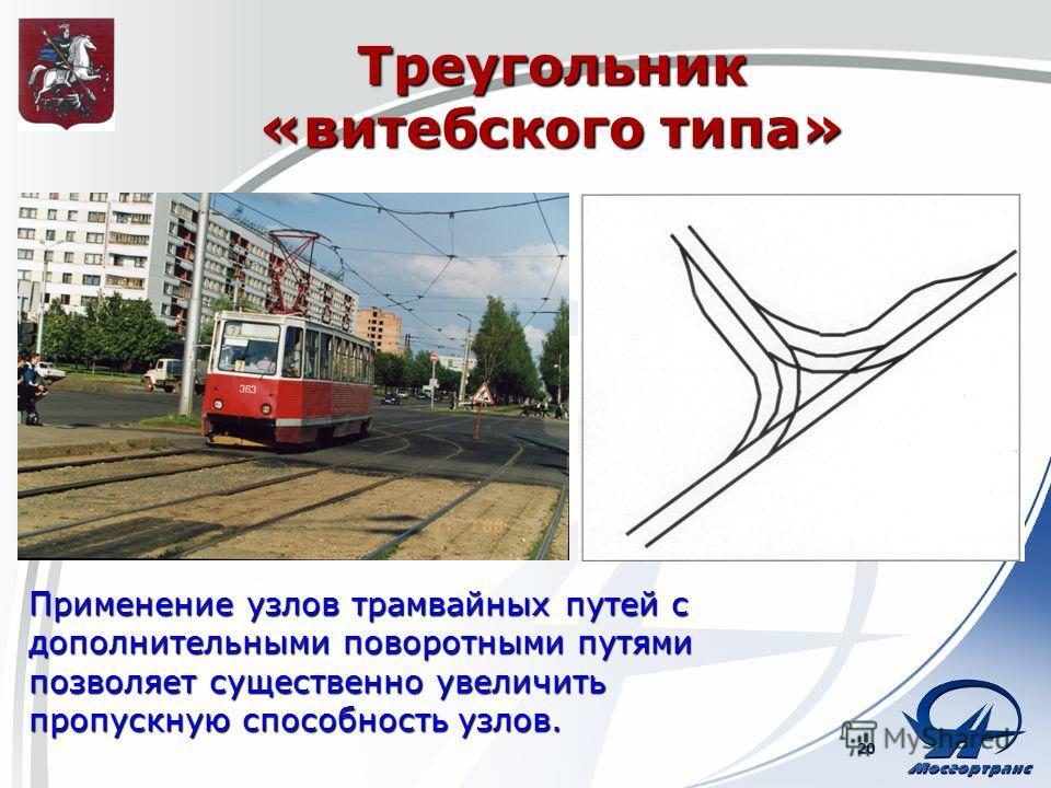 Треугольник «витебского типа» Применение узлов трамвайных путей с дополнительными поворотными путями позволяет существенно увеличить пропускную способность узлов. 20