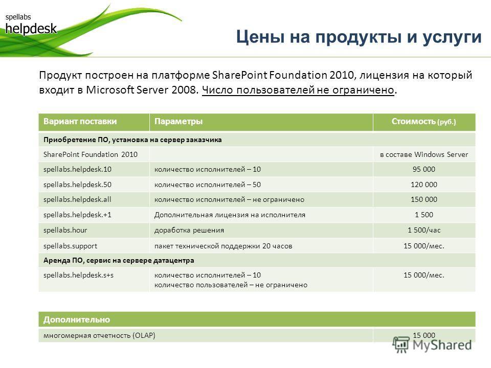 Цены на продукты и услуги Продукт построен на платформе SharePoint Foundation 2010, лицензия на который входит в Microsoft Server 2008. Число пользователей не ограничено. Вариант поставкиПараметрыСтоимость (руб.) Приобретение ПО, установка на сервер