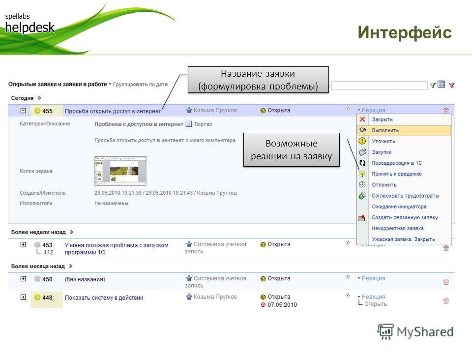 Интерфейс Возможные реакции на заявку Название заявки (формулировка проблемы)