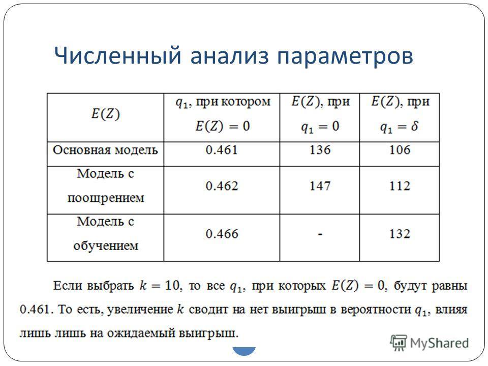Численный анализ параметров 41