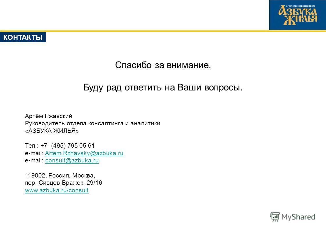 Спасибо за внимание. Буду рад ответить на Ваши вопросы. Артём Ржавский Руководитель отдела консалтинга и аналитики «АЗБУКА ЖИЛЬЯ» Тел.: +7 (495) 795 05 61 e-mail: Artem.Rzhavsky@azbuka.ruArtem.Rzhavsky@azbuka.ru e-mail: consult@azbuka.ruconsult@azbuk