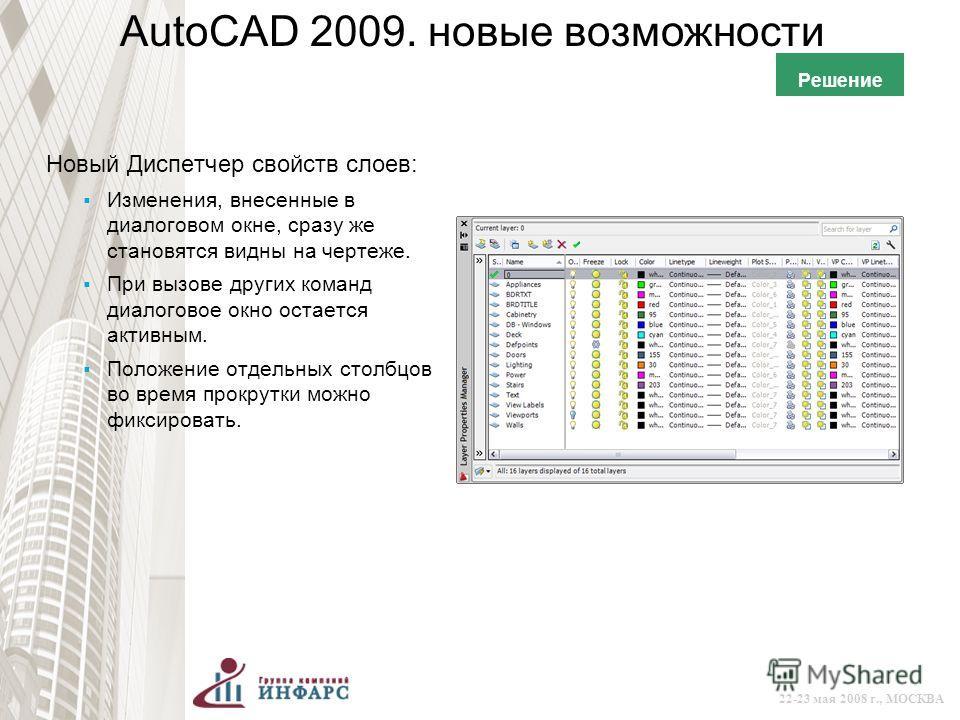 © 2008 Autodesk 22-23 мая 2008 г., МОСКВА AutoCAD 2009. новые возможности Новый Диспетчер свойств слоев: Изменения, внесенные в диалоговом окне, сразу же становятся видны на чертеже. При вызове других команд диалоговое окно остается активным. Положен