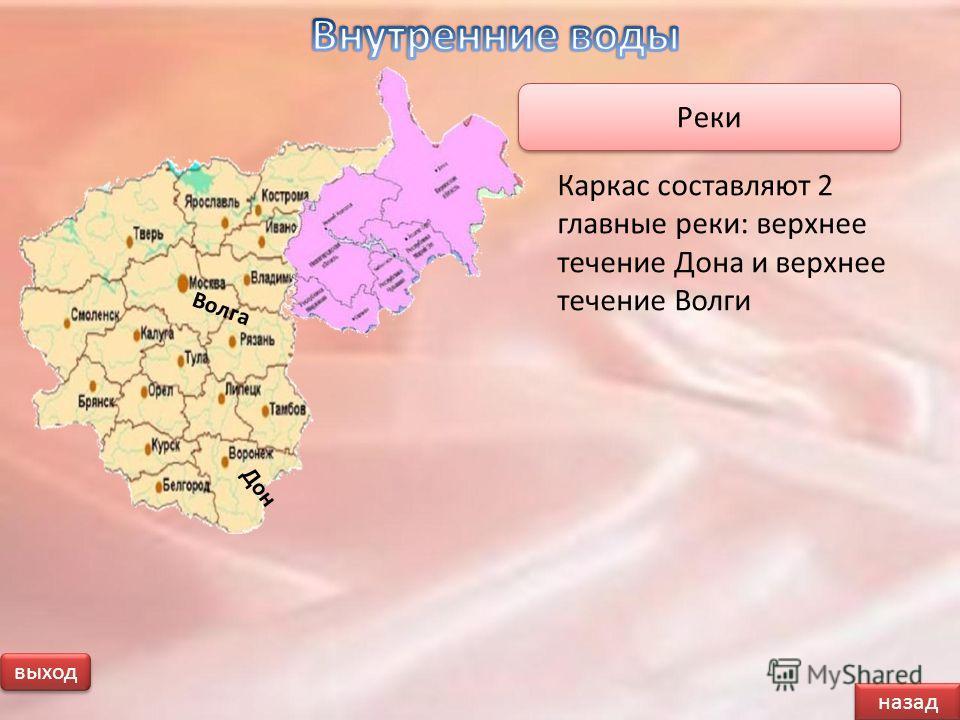 назад выход Каркас составляют 2 главные реки: верхнее течение Дона и верхнее течение Волги Реки Волга Дон