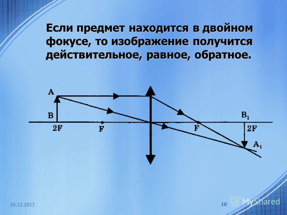 26.12.2013 10 Если предмет находится в двойном фокусе, то изображение получится действительное, равное, обратное.