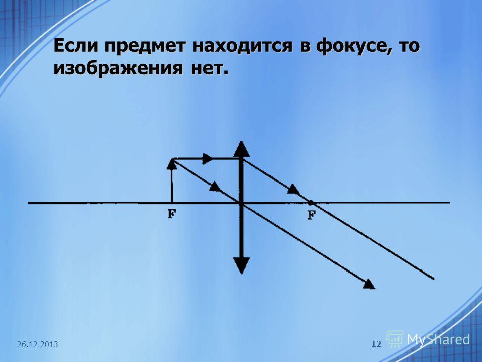 26.12.2013 12 Если предмет находится в фокусе, то изображения нет.