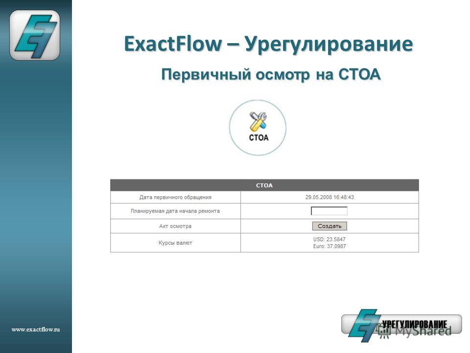 www.exactflow.ru ExactFlow – Урегулирование Первичный осмотр на СТОА