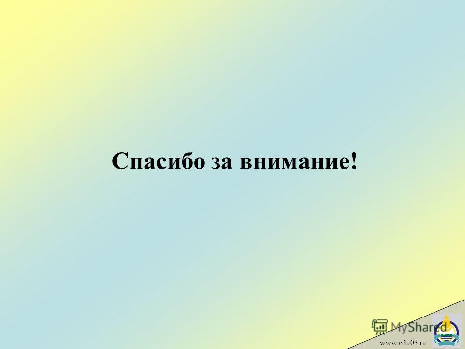 Спасибо за внимание! www.edu03.ru