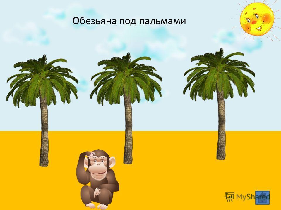 Обезьяна под пальмами