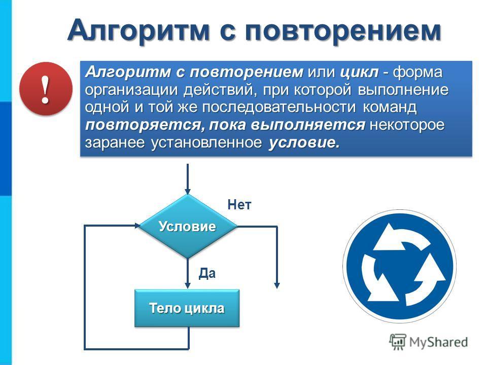 Алгоритм с повторением Алгоритм с повторением или цикл - форма организации действий, при которой выполнение одной и той же последовательности команд повторяется, пока выполняется некоторое заранее установленное условие. УсловиеУсловие Тело цикла Да Н