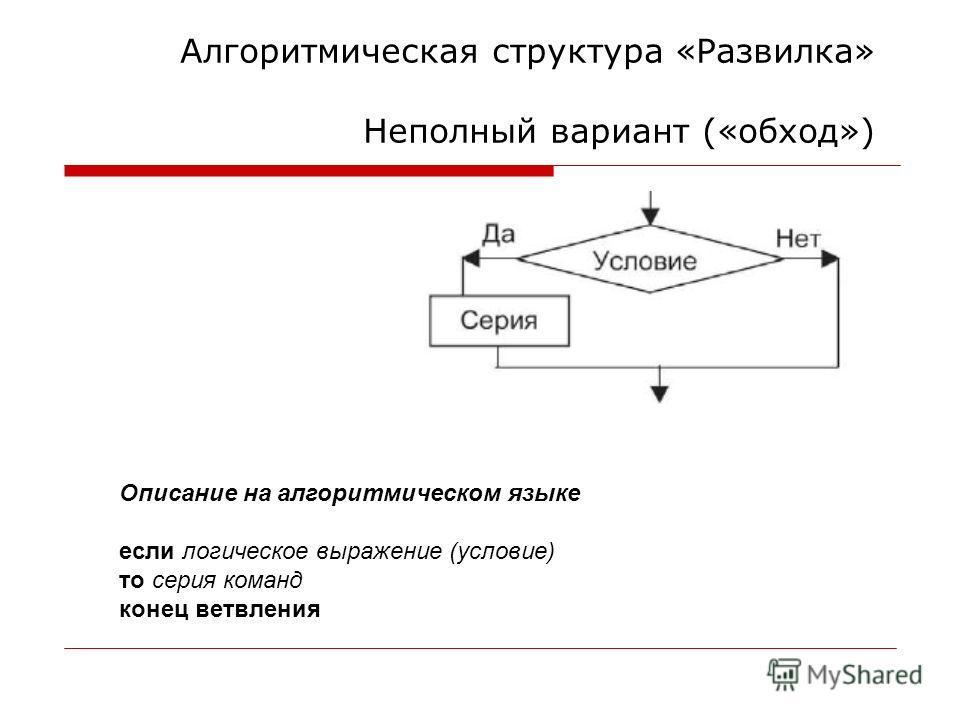 Алгоритмическая структура «Развилка» Неполный вариант («обход») Описание на алгоритмическом языке если логическое выражение (условие) то серия команд конец ветвления