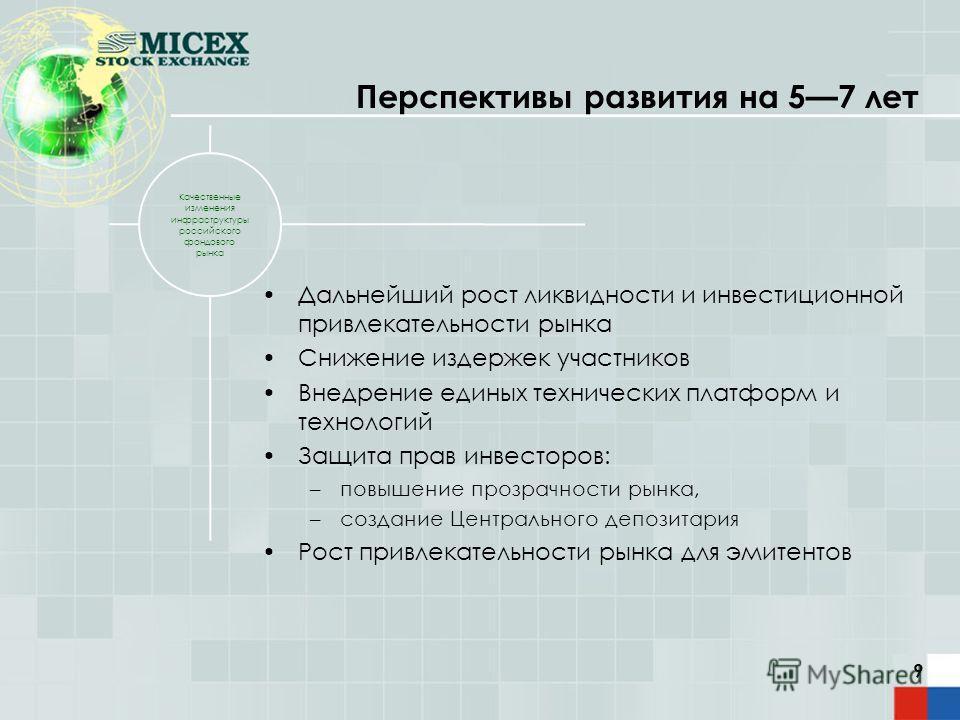 9 Качественные изменения инфраструктуры российского фондового рынка Дальнейший рост ликвидности и инвестиционной привлекательности рынка Снижение издержек участников Внедрение единых технических платформ и технологий Защита прав инвесторов: –повышени