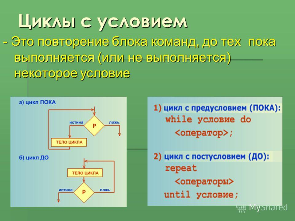Циклы с условием - Это повторение блока команд, до тех пока выполняется (или не выполняется) некоторое условие