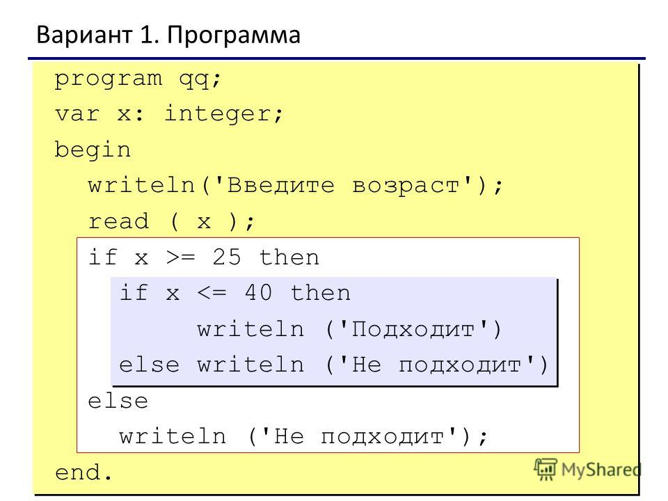 4 Вариант 1. Программа program qq; var x: integer; begin writeln('Введите возраст'); read ( x ); if x >= 25 then if x