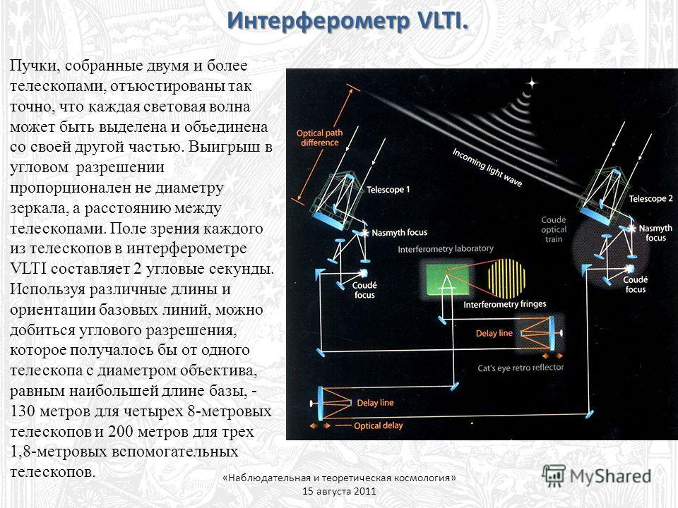 Пучки, собранные двумя и более телескопами, отъюстированы так точно, что каждая световая волна может быть выделена и объединена со своей другой частью. Выигрыш в угловом разрешении пропорционален не диаметру зеркала, а расстоянию между телескопами. П