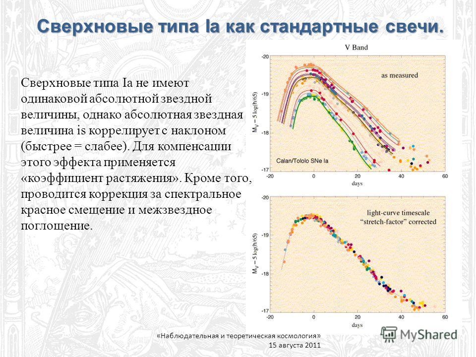 Сверхновые типа Ia не имеют одинаковой абсолютной звездной величины, однако абсолютная звездная величина is коррелирует с наклоном (быстрее = слабее). Для компенсации этого эффекта применяется «коэффициент растяжения». Кроме того, проводится коррекци